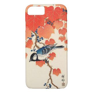 Capa iPhone 8/ 7 Pássaro de Jay do japonês do vintage e vinha do
