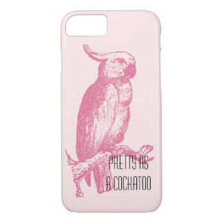 Capa iPhone 8/ 7 Pássaro engraçado feminino cor-de-rosa à moda do