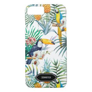 Capa iPhone 8/ 7 Pássaro tropical do abacaxi do verão personalizado