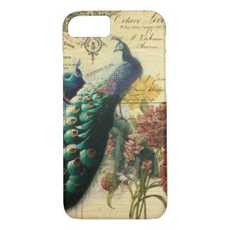Capa iPhone 8/ 7 pavão moderno do vintage do país francês floral do