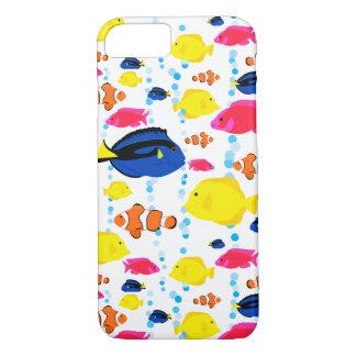 Capa iPhone 8/ 7 Peixes e bolhas tropicais lunáticos e coloridos