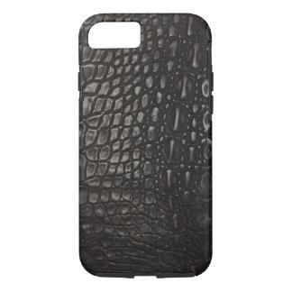 Capa iPhone 8/ 7 Pele de couro preta legal do jacaré