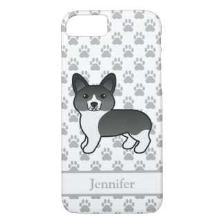 Capa iPhone 8/ 7 Pembroke preto e branco bonito & nome do Corgi de