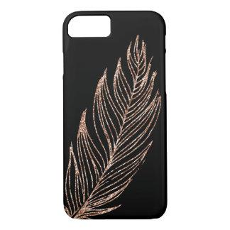 Capa iPhone 8/ 7 Pena cor-de-rosa do brilho do falso do ouro