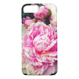 Capa iPhone 8/ 7 Peônias cor-de-rosa e brancas