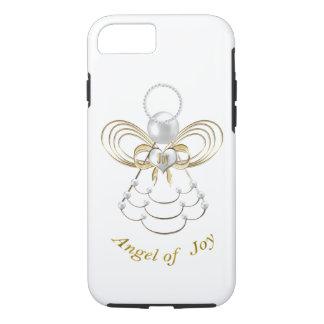 Capa iPhone 8/ 7 Pérolas e ouro - anjo metálico do Natal da alegria