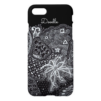 Capa iPhone 8/7 Personalize: Tinta branca na arte preta do Doodle