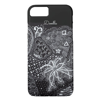 Capa iPhone 8/ 7 Personalize: Tinta branca na arte preta do Doodle