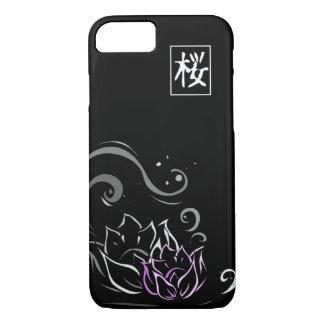 Capa iPhone 8/ 7 Pia batismal japonesa de flor de Lotus no fundo