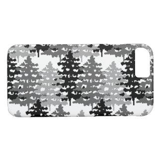 Capa iPhone 8/ 7 Pinheiros cinzentos rústicos do inverno da