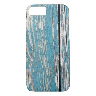 Capa iPhone 8/ 7 Pintura azul rachada velha na madeira