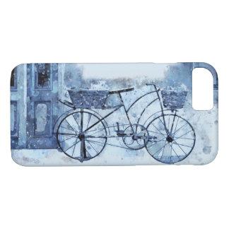 Capa iPhone 8/ 7 Pintura de cena azul da rua da bicicleta