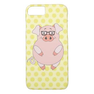 Capa iPhone 8/ 7 Polkadot amarelo & cor-de-rosa leitão