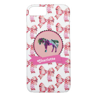 Capa iPhone 8/ 7 Pônei moderno cor-de-rosa bonito personalizado