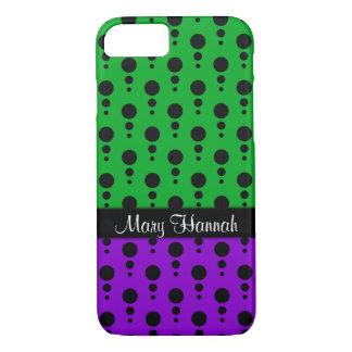Capa iPhone 8/ 7 Pontos pretos retros com o verde & o roxo,