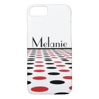 Capa iPhone 8/ 7 Pontos vermelhos e pretos modernos no branco