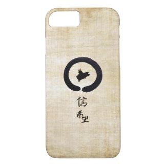 Capa iPhone 8/ 7 Porco-Esperança e fé do vôo na caligrafia chinesa