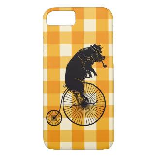 Capa iPhone 8/ 7 Porco ou porco que montam uma bicicleta do