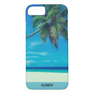 Capa iPhone 8/ 7 Praia branca de Sandy com palmeiras tropicais