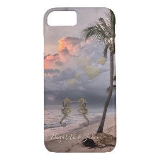 Capa iPhone 8/ 7 Praia, cavalos marinhos do por do sol no amor -