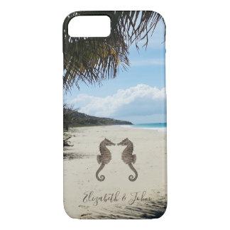 Capa iPhone 8/ 7 Praia, palma, Cavalo marinho-Personalizada