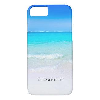 Capa iPhone 8/ 7 Praia tropical com um costume do mar de turquesa