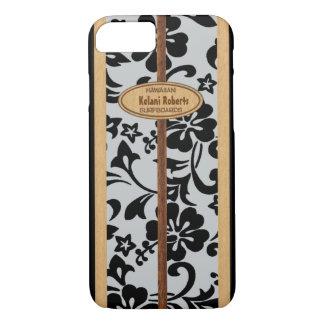 Capa iPhone 8/ 7 Prancha de madeira do monograma do falso havaiano