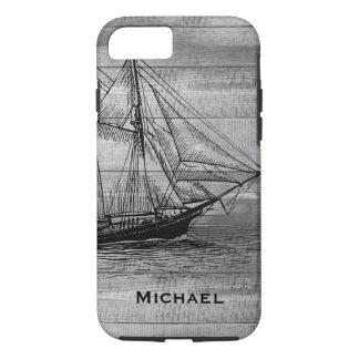 Capa iPhone 8/ 7 Pranchas pretas náuticas da madeira da escuna &