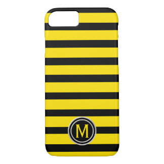Capa iPhone 8/ 7 Preto & amarelo Bumble o monograma da listra da