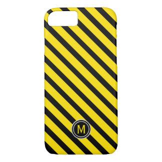 Capa iPhone 8/ 7 Preto & amarelo Bumble o monograma diagonal da