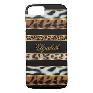 Capa iPhone 8/ 7 preto animal misturado elegante elegante 3 do ouro