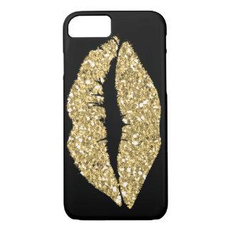Capa iPhone 8/ 7 Preto com os lábios do encanto do ouro