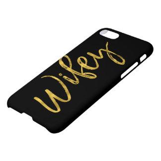 Capa iPhone 8/7 Preto de Wifey e tipografia da folha de ouro