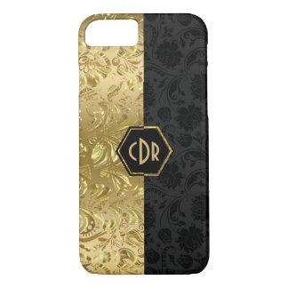 Capa iPhone 8/ 7 Preto & design geométrico dos damascos florais do
