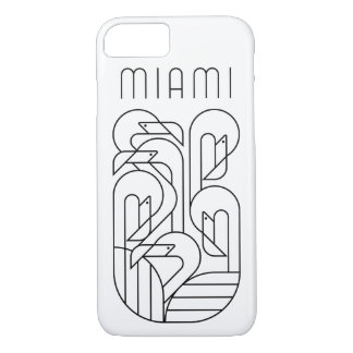 Capa iPhone 8/ 7 Preto do flamingo de Miami