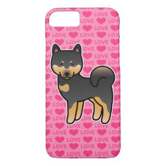 Capa iPhone 8/ 7 Preto e amor de Shiba Inu dos desenhos animados de