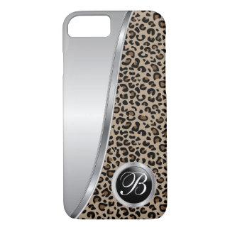 Capa iPhone 8/ 7 Preto e monograma do impressão | do leopardo de