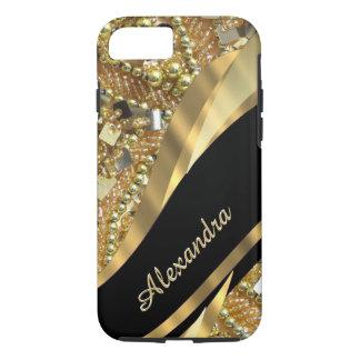 Capa iPhone 8/ 7 Preto elegante chique personalizado e ouro que