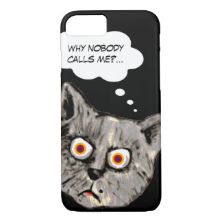 Capa iPhone 8/ 7 preto engraçado dos desenhos animados do gato
