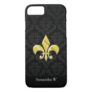 Capa iPhone 8/ 7 Preto/flor de lis damasco do ouro