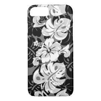 Capa iPhone 8/ 7 Preto havaiano do hibiscus da beira de Kalakaua