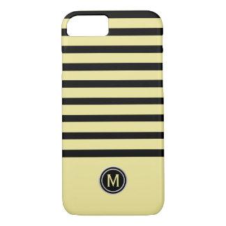 Capa iPhone 8/ 7 Preto & monograma amarelo da listra da banana