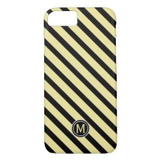Capa iPhone 8/ 7 Preto & monograma diagonal amarelo da listra da