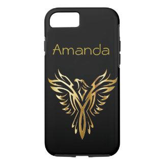 Capa iPhone 8/ 7 Preto personalizado e ouro Phoenix