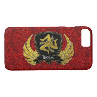 Capa iPhone 8/ 7 Preto siciliano de Trinacria & vermelho do ouro