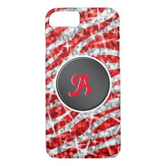 Capa iPhone 8/ 7 Preto vermelho do iPhone 7 do monograma da zebra
