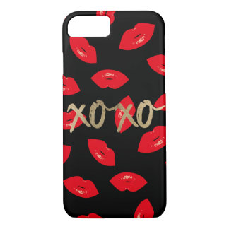 Capa iPhone 8/ 7 Preto vermelho moderno do teste padrão dos lábios