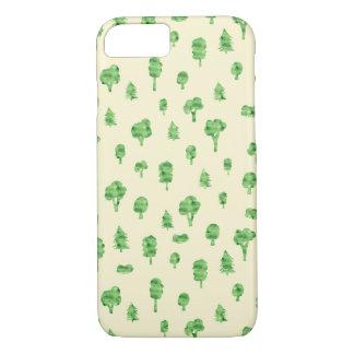 Capa iPhone 8/ 7 Primavera verde do design da árvore da aguarela do