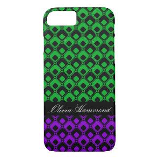 Capa iPhone 8/ 7 Quadrados pretos retros w verdes & roxo,