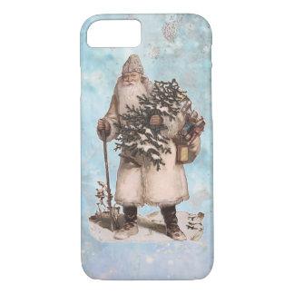 Capa iPhone 8/ 7 Queda de prata da neve do papai noel do Natal do
